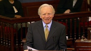 Video of Senator Al Franken forbidding Senator Joe Lieberman to finish health care remarks.