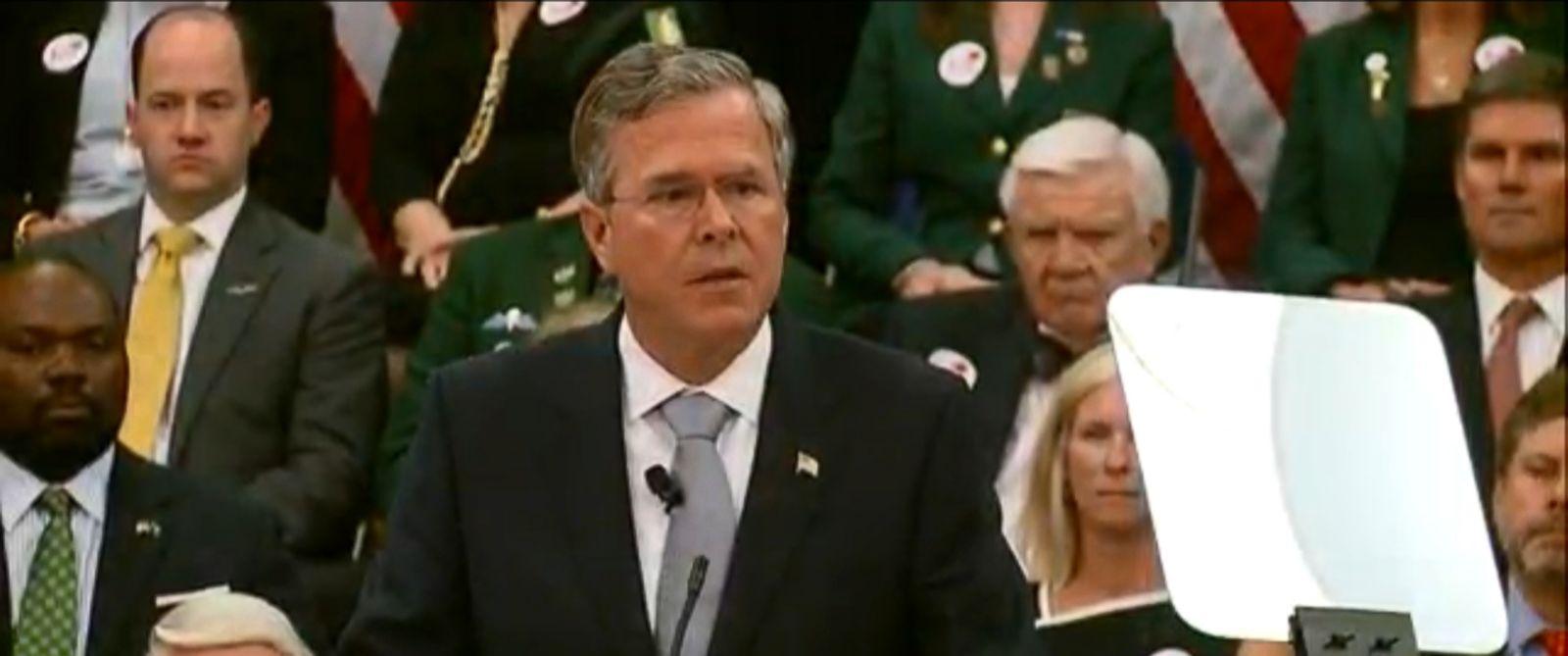 PHOTO:Jeb Bush delivers a speech at The Citadel, The Military College of South Carolina, Nov. 18, 2015.