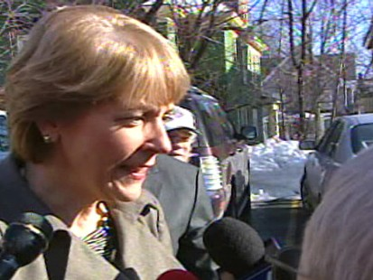 ABC News video of Martha Coakley campaigning the day before the election.