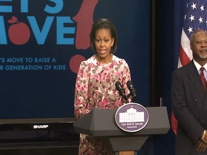Video of Michelle Obama remarks on nutrition announcement.