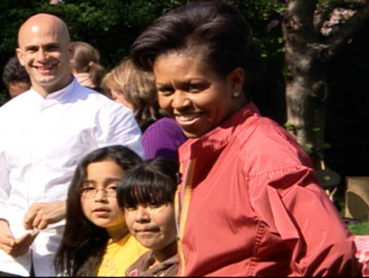 "Video of First Lady Michelle Obama telling the press the first dog is coming ""soon."""