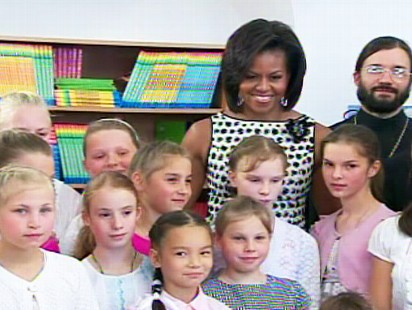 The first lady visits an orphanage in Moscow, meeting with about two dozen kids.
