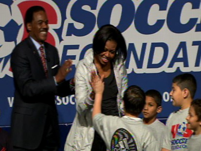 Video of First Lady Michelle Obama soccer clinic.