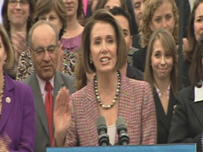 ABC News video of Nancy Pelosi unveiling House health care bill.