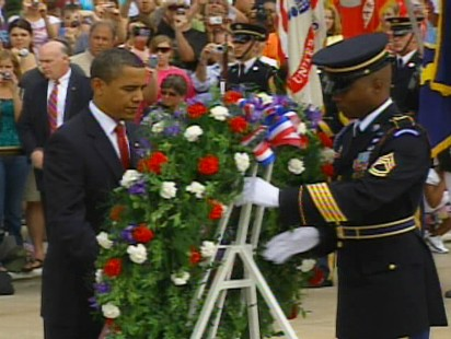 Video of Obama at Arlington Cemetery.