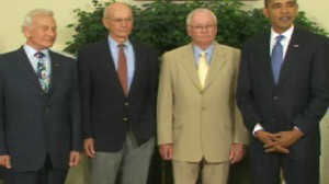 Video of President Obama meeting with Neil Armstrong, Buzz Aldrin, Michael Collins and NASAs Bolden.