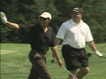 Video of President Obama playing golf on Marthas vineyard during his family vacation.