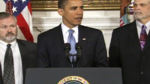 President Obama announcing health care plan.