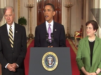 Video of Obama announcing Elena Kagan as nominee for Supreme Court.