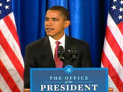 pic of barack obama during press conference in chicago, ill.