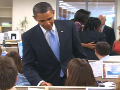 ABC News video of President Obama visiting Red Cross on January 18, 2010.
