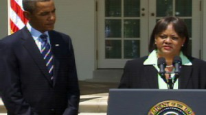 Video of Obama naming Dr. Regina Benjamin to be the new surgeon general.