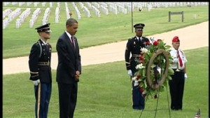 ABC News video of Marines presenting President Obama with a wreath.