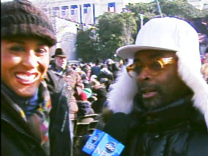 Video of filmmaker Spike Lee and his wife talking to ABCs Robin Roberts on Inauguration Day.