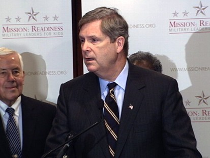 Video of Lugar, Vilsack and military vets speaking about unhealthy school lunches.