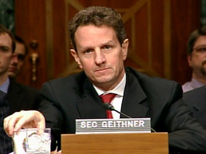 Video of Treasury Secretary Tim Geithner taking heating on Capitol Hill.