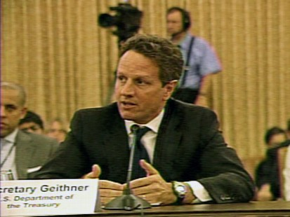 Video of Treasury Secretary Timothy Geithner defending the Obama administrations stimulus plan.
