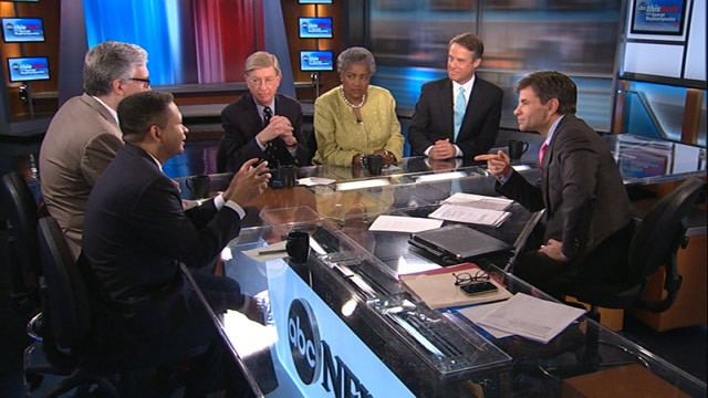 "PHOTO: ABC's George Stephanopoulos talks with a powerhouse round table on ""This Week."""
