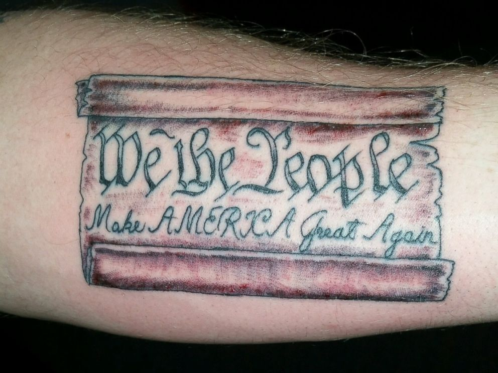 Bob Holmes and his team offer tattoos that range in style from Trump's slogan to his portrait.
