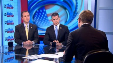 PHOTO: Rep. Adam Kinzinger (R) Illinois and Rep. Adam Schiff (D) California on This Week'