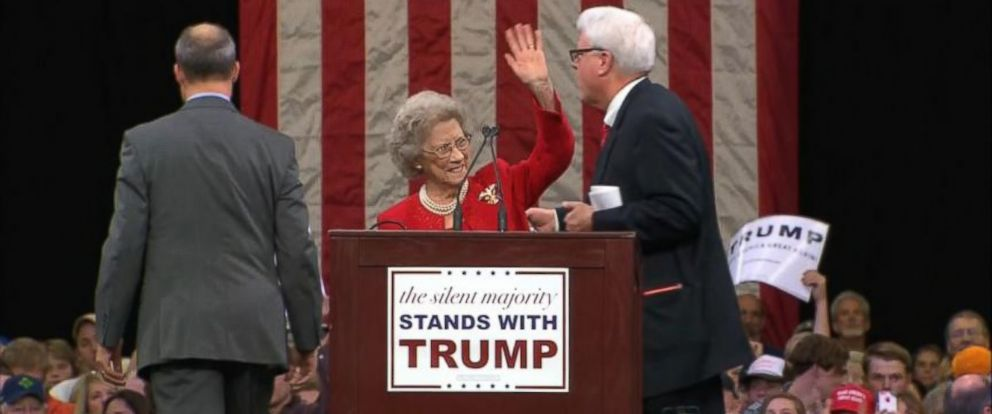PHOTO: Beada Corum is a 92 year old woman who registered to vote for the first time for Donald Trump. Corum introduced Trump at his rally in Knoxville, Tenn. Monday night, Nov. 16, 2015.