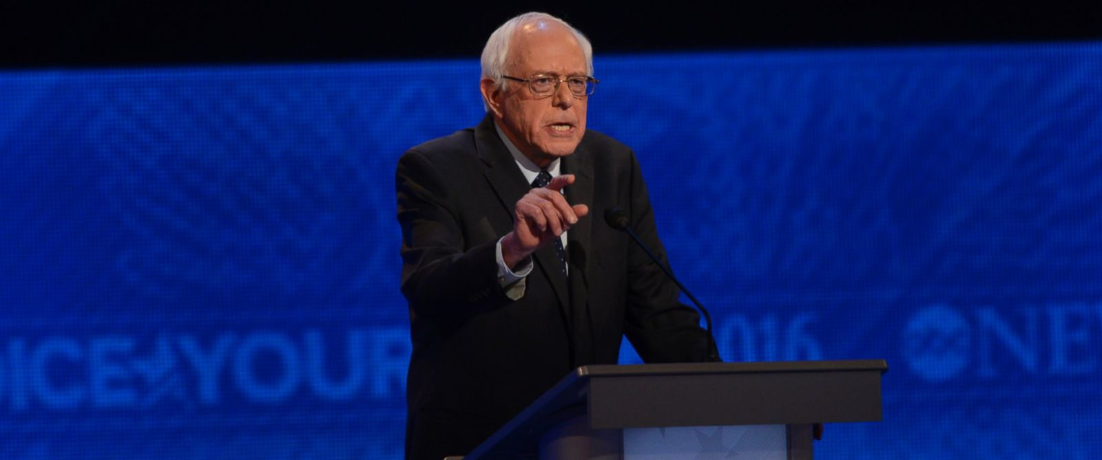 PHOTO: Sen. Bernie Sanders spoke at the Democratic Presidential debate at St. Anselm College in Manchester, NH.