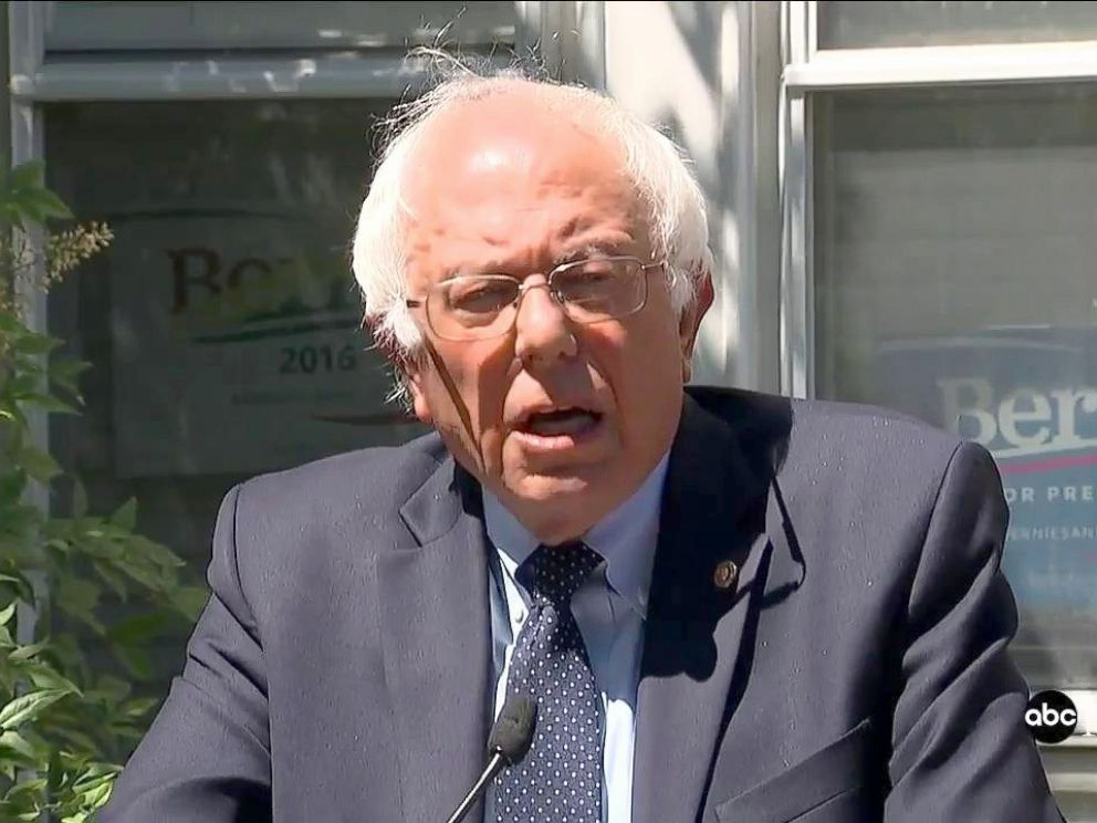 PHOTO: Bernie Sanders speaks to reporters, June 14, 2016, outside his campaign headquarters in Washington.