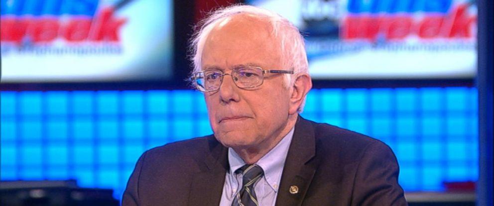 PHOTO: Democratic presidential candidate Senator Bernie Sanders (I) Vermont on This Week