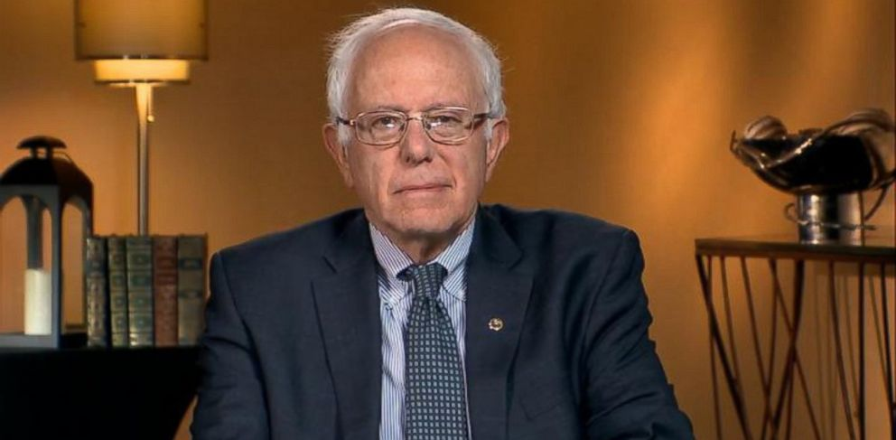 PHOTO: 2016 presidential candidate Vermont Sen. Bernie Sanders is interviewed on This Week with George Stephanopoulos.
