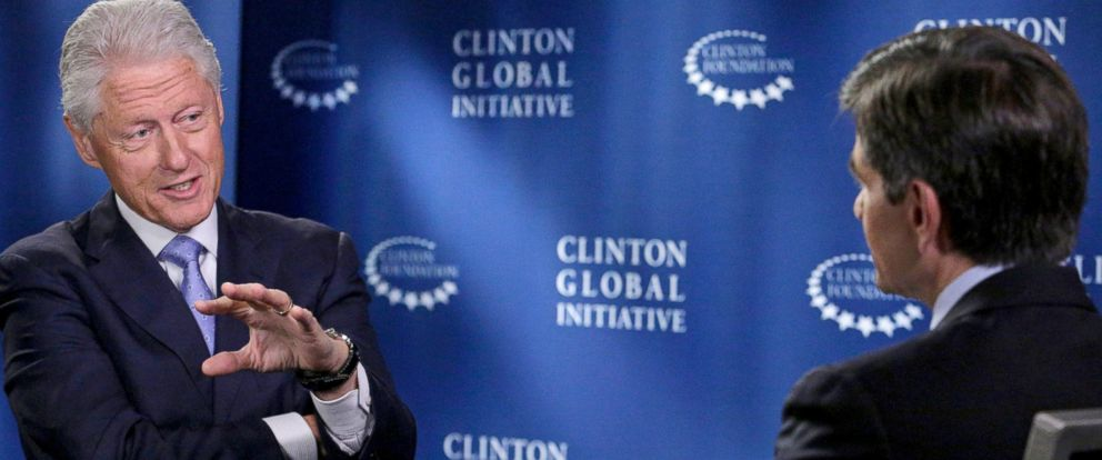 "PHOTO: George Stephanopoulos interviews former President Bill Clinton about the Clinton Global Initiative happening in New York this week. The interview airs Sept. 24, 2014 on ""Good Morning America."""