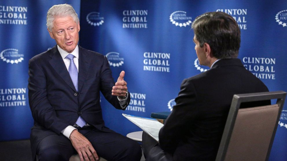 PHOTO: George Stephanopoulos interviews former President Bill Clinton about the Clinton Global Initiative happening in New York.