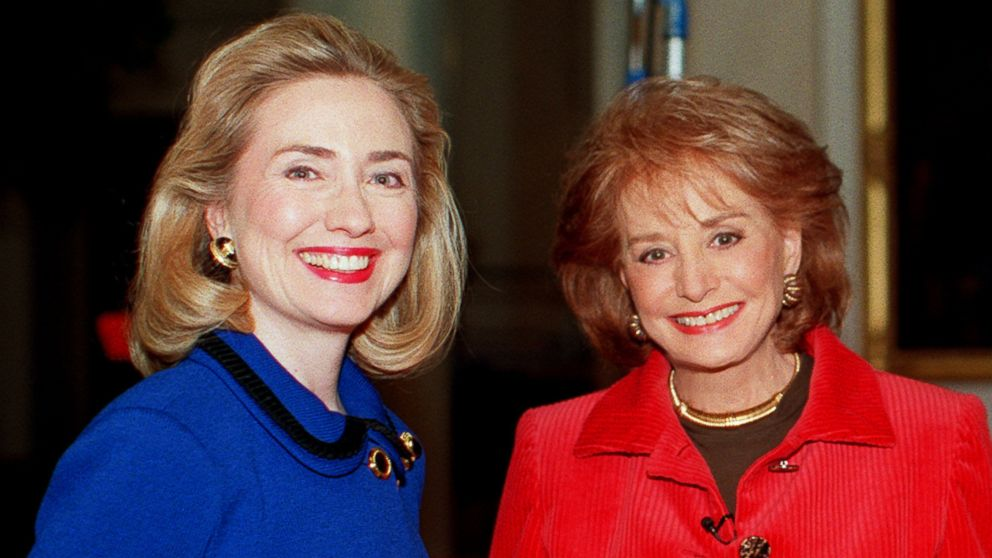 PHOTO: Barbara Walters, right, is pictured with Hillary Clinton, left, while filming a 1996 broadcast.