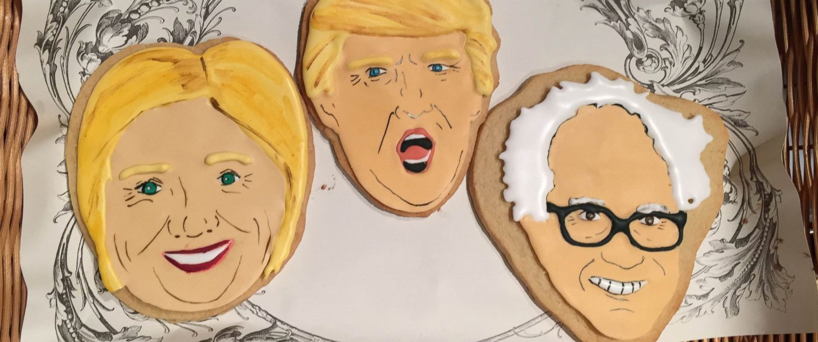 PHOTO: New York City bakery Cupcake Market sells hand painted, decorative cookies featuring 2016 candidates Hillary Clinton, Bernie Sanders and Donald Trump.