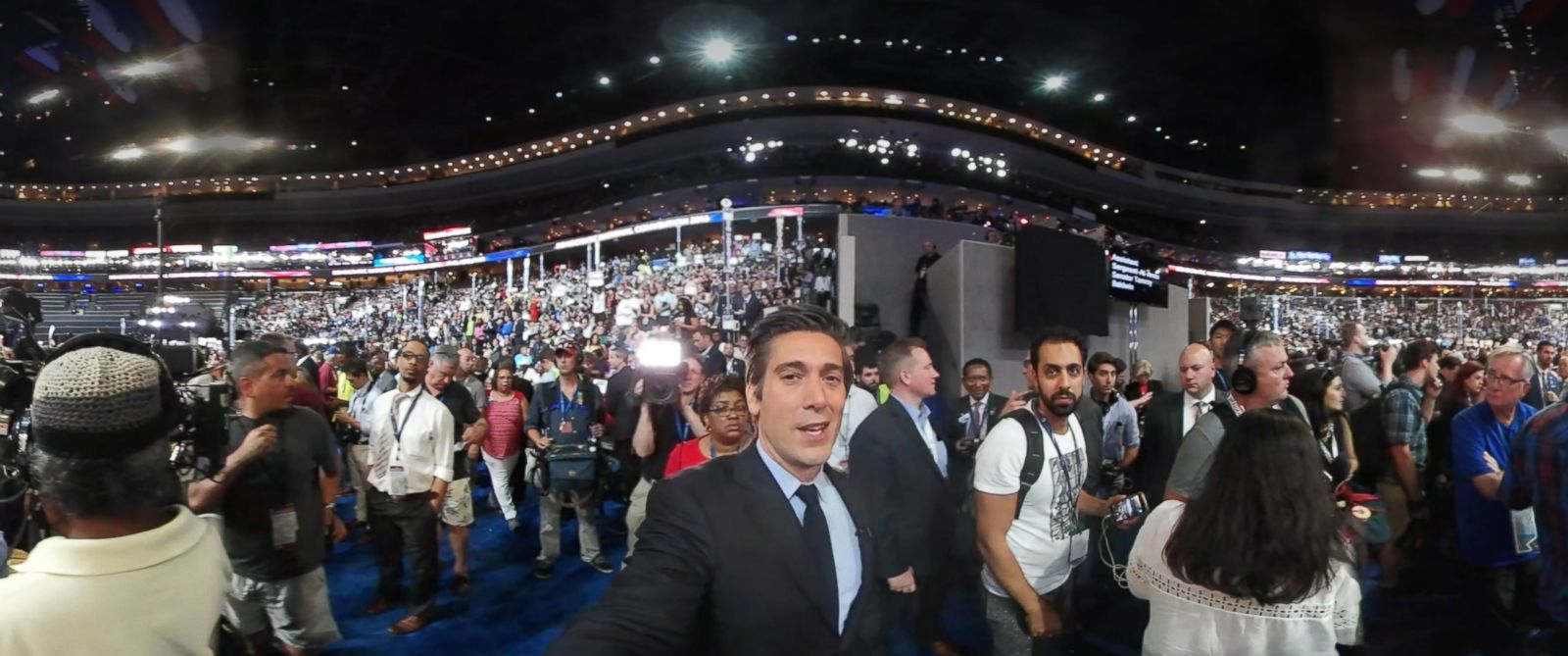 PHOTO: ABC World News Tonight Anchor David Muir tours the Democratic National Convention floor in this 360 video.