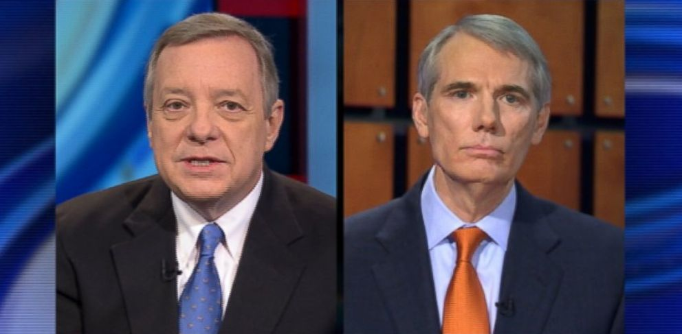 PHOTO: Senator Dick Durbin (D) Illinois and Senator Rob Portman (R) Ohio on This Week