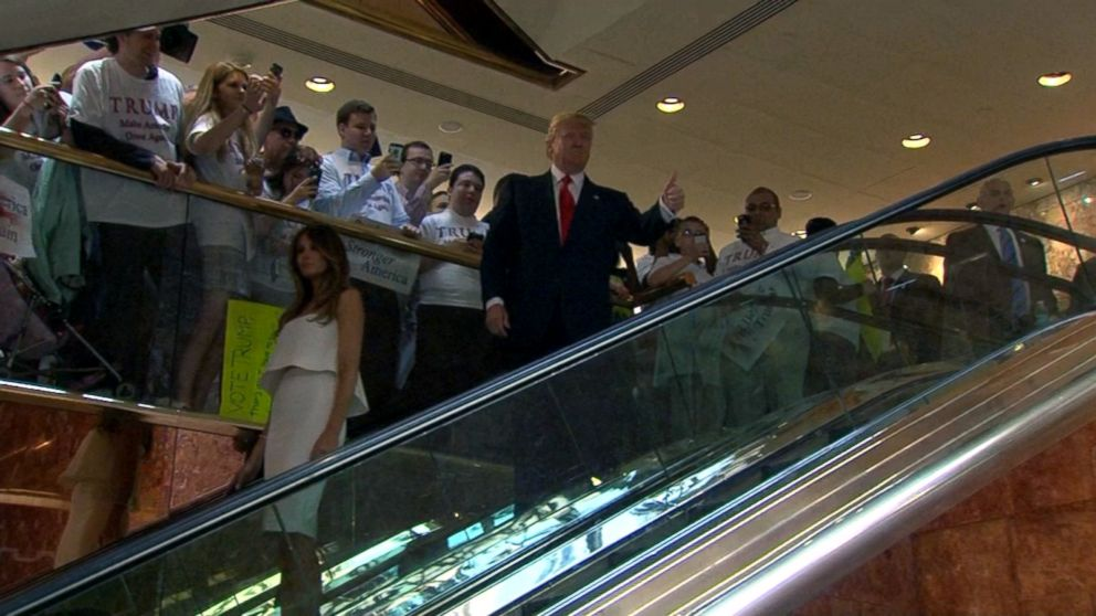 Image result for trump coming down the escalators at trump tower