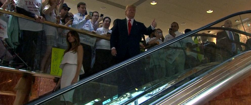 PHOTO: Donald Trump rides an escalator on the way to deliver his candidacy speech in New York, June 15, 2015.