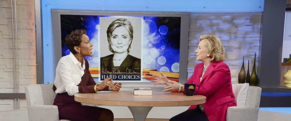 "PHOTO: Hillary Clinton sat down for an exclusive interview on ""Good Morning America,"" June 10, 2014, with ABC News Robin Roberts."