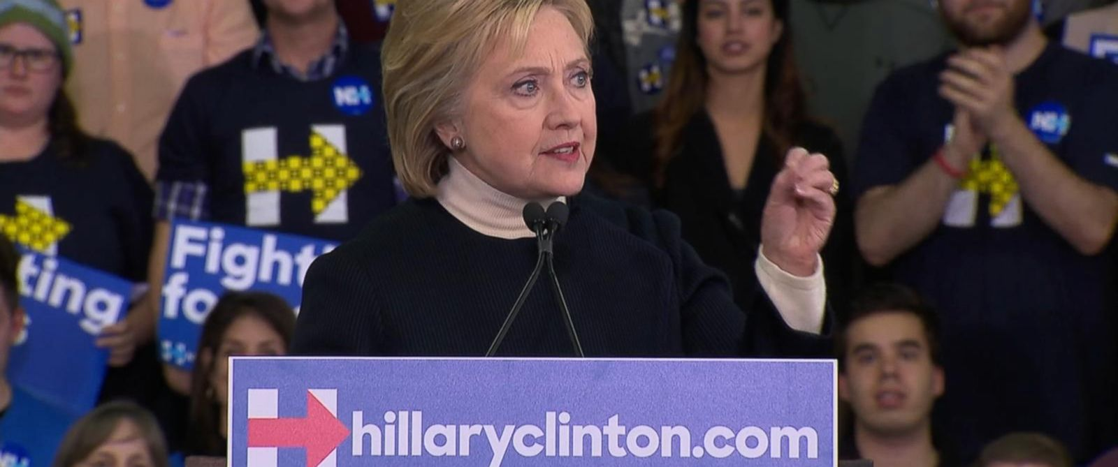PHOTO: Hillary Clinton gave a speech after the results of the New Hampshire primary were revealed, Feb. 9, 2016.