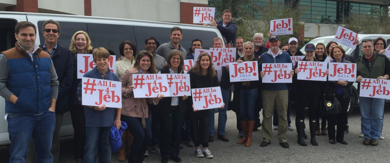 PHOTO: Jeb Bushs friends and alumni of his father and brothers administration campaign in Charleston, SC.