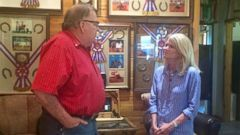 PHOTO: ABC News Martha Raddatz interviews voter Jud Little at his ranch in Ardmore, Oklahoma, July 12, 2016.