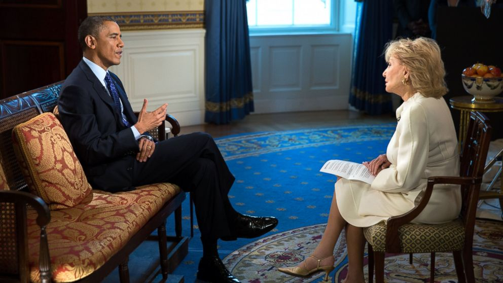 PHOTO: President Obama speaks to ABC News Barbara Walters at the White House on Nov. 22, 2013.