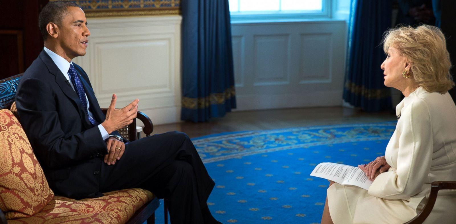 PHOTO: President Obama speaks to ABC News Barbara Walters at the White House on Nov. 22, 2013.