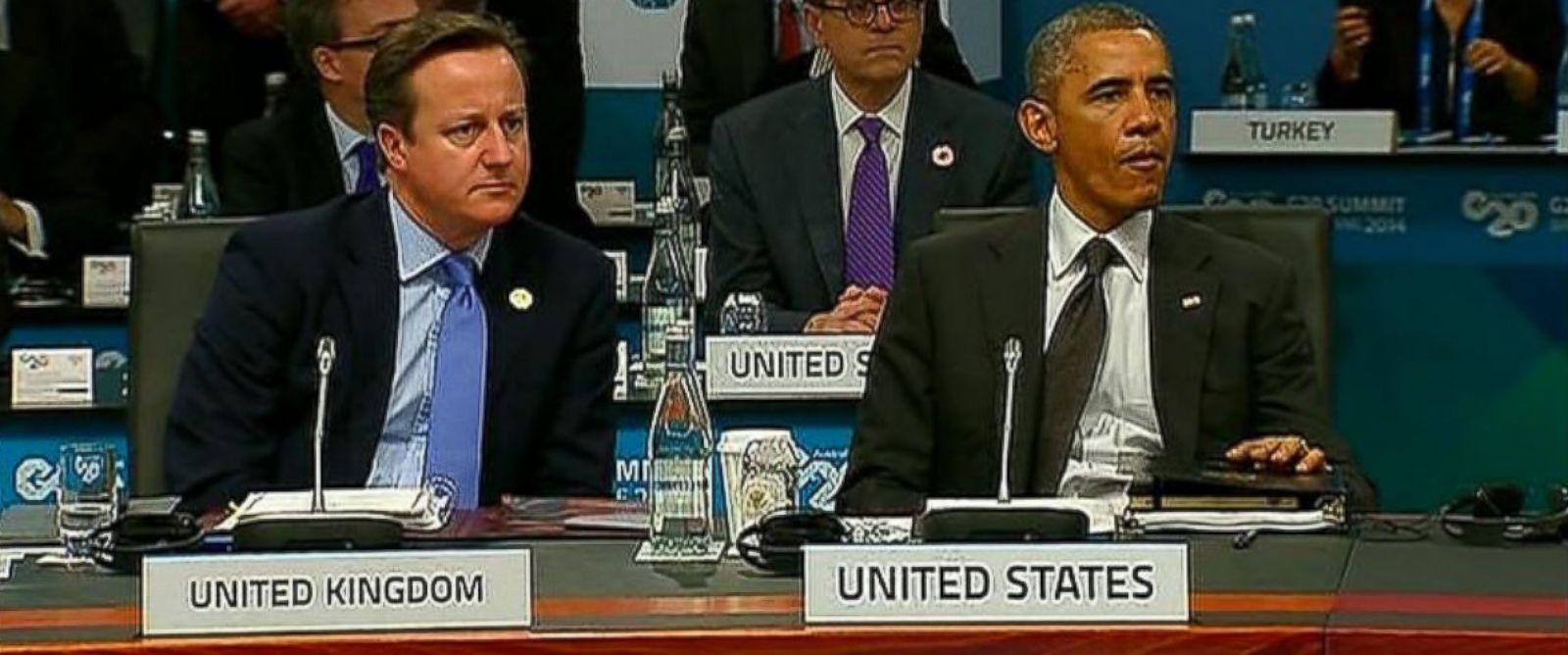 PHOTO: President Barack Obama chews gum during a meeting at the G20 Summit, Nov. 15, 2014.