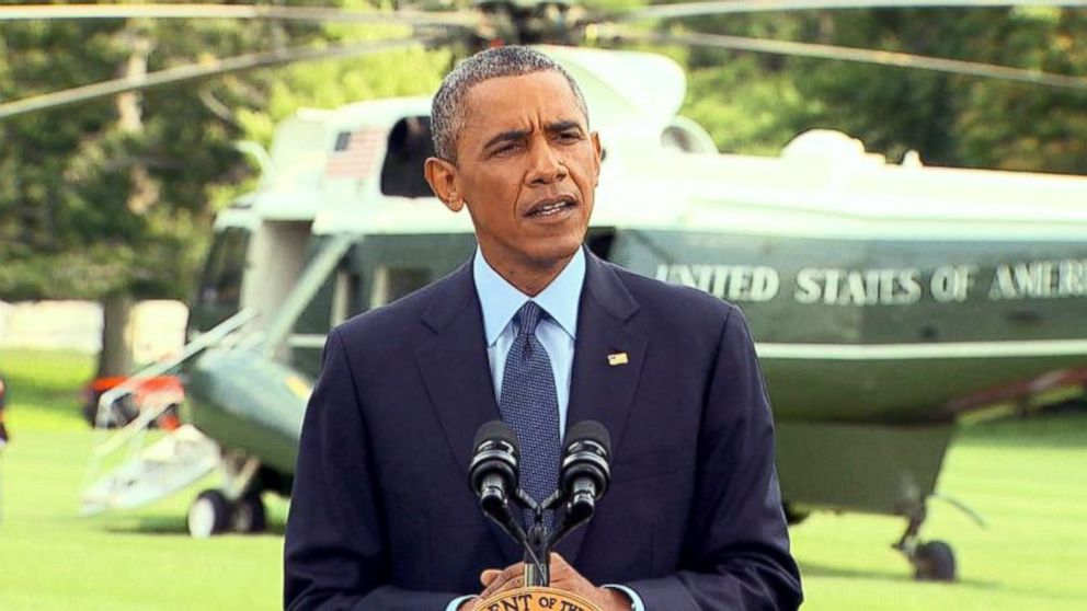 PHOTO: President Obama delivers a statement on the situation in Ukraine during a press conference on the South Lawn of the White House, Washington, July 29, 2014.