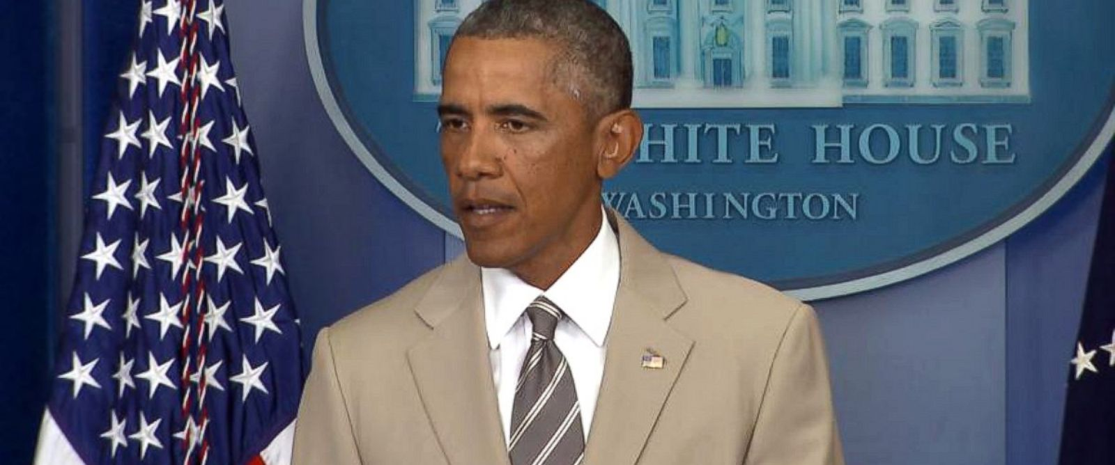 PHOTO: President Barack Obama speaks in the White House Briefing Room, Aug. 28, 2014, in Washington, DC.