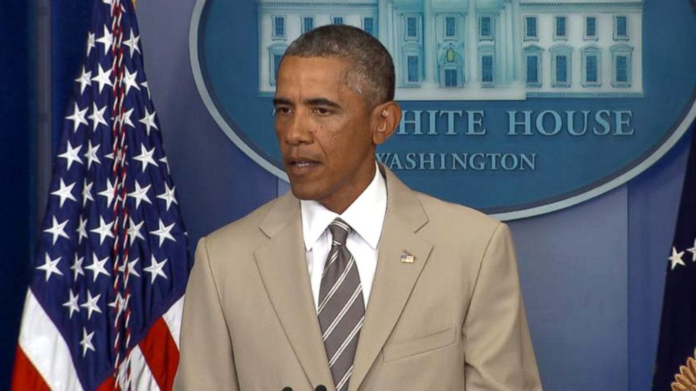 PHOTO: President Barack Obama speaks in the White House Brief