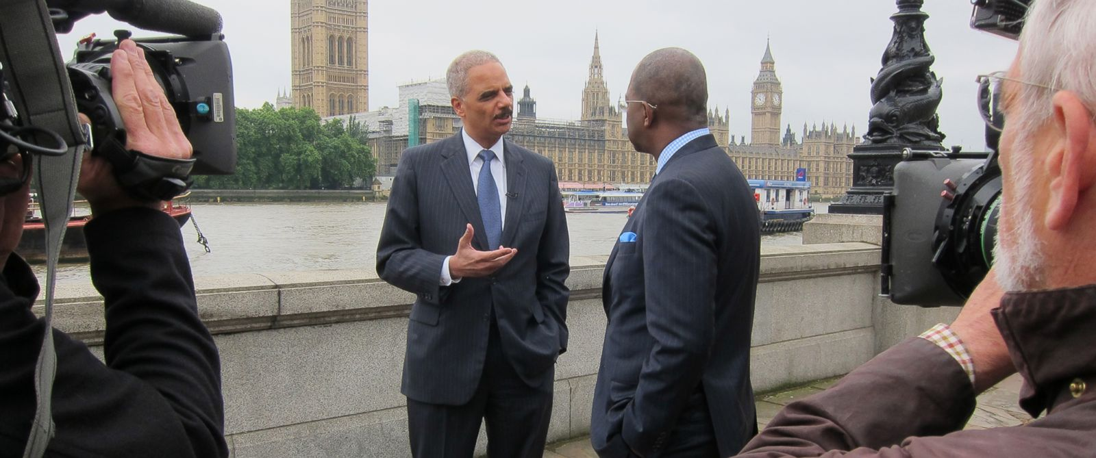 PHOTO: Pierre Thomas speaks with Attorney General Eric Holder in London on Friday, July 11th, 2014.