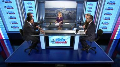 PHOTO: Rep Tom Cole (R) Oklahoma, Rep Keith Ellison (D) Minnesota, ABC News Cokie Roberts, and Foreign Policy Initiative Co-founder Dan Senor on This Week