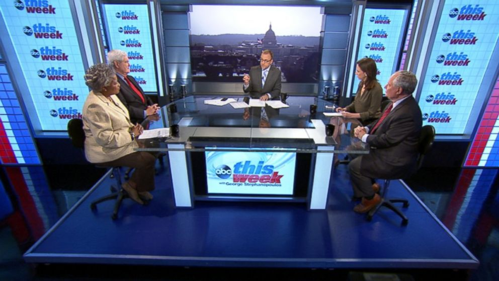 "PHOTO: ABC News Contributor and Democratic Strategist Donna Brazile, Former House Speaker Newt Gingrich, ABC News Contributor and The Weekly Standard Editor Bill Kristol, and Fusions ""AM Tonight"" Alicia Menendez on This Week"